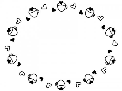 ハートとカップの白黒フレーム飾り枠イラスト