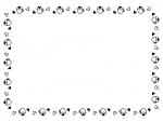 ハートとカップの白黒囲みフレーム飾り枠イラスト