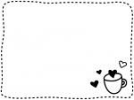 ハートとカップと白黒点線フレーム飾り枠イラスト