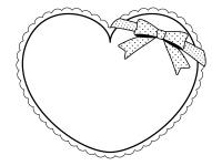 水玉模様のリボンとハート型の白黒フレーム飾り枠イラスト