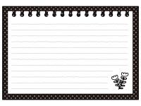 お花柄のノートの白黒フレーム飾り枠イラスト