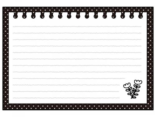 お花柄のノートの白黒フレーム飾り枠イラスト 無料イラスト かわいい
