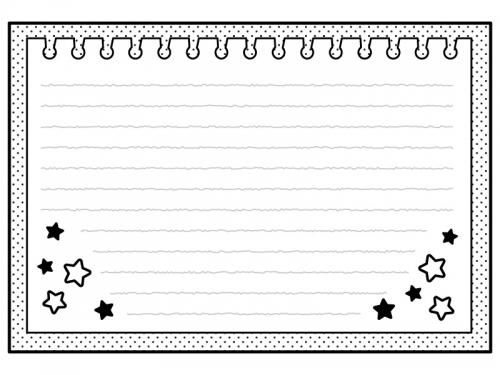 お星さま柄のノートの白黒フレーム飾り枠イラスト
