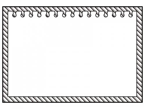 斜めストライプ模様のノートの白黒フレーム飾り枠イラスト