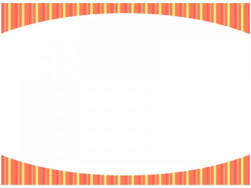 オレンジ色のストライプのフレーム飾り枠イラスト