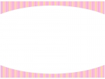 ピンク色のストライプのフレーム飾り枠イラスト