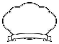 白黒のリボンの見出し付きのフレーム飾り枠イラスト03