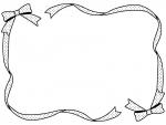 水玉模様のリボンの白黒フレーム飾り枠イラスト