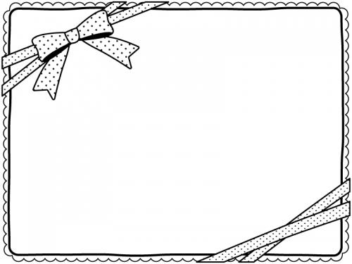 水玉模様のリボンとレースの白黒フレーム飾り枠イラスト