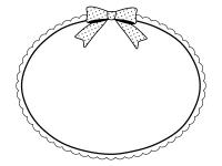水玉模様のリボンと楕円形の白黒フレーム飾り枠イラスト