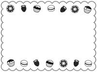 ドーナツとカップケーキの白黒もこもこ点線フレーム飾り枠イラスト