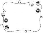 ドーナツとカップケーキと手書き風点線の白黒フレーム飾り枠イラスト