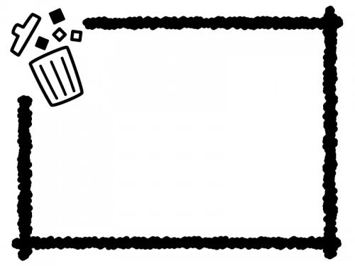 ごみ箱とクレヨン風の線の白黒フレーム飾り枠イラスト