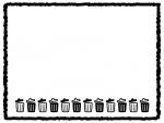 並んだごみ箱とクレヨン風線の白黒四角フレーム飾り枠イラスト