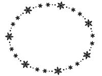 雪の結晶の白黒楕円フレーム飾り枠イラスト