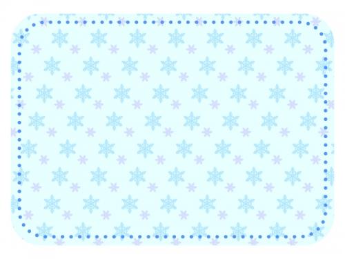 雪の結晶模様の水色フレーム飾り枠イラスト