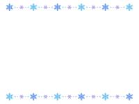 ブルー系の雪の結晶の上下フレーム飾り枠イラスト