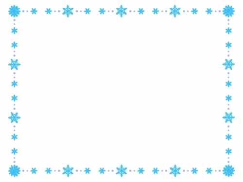 ブルー系の雪の結晶の囲みフレーム飾り枠イラスト