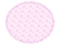 雪の結晶模様のピンク色楕円フレーム飾り枠イラスト