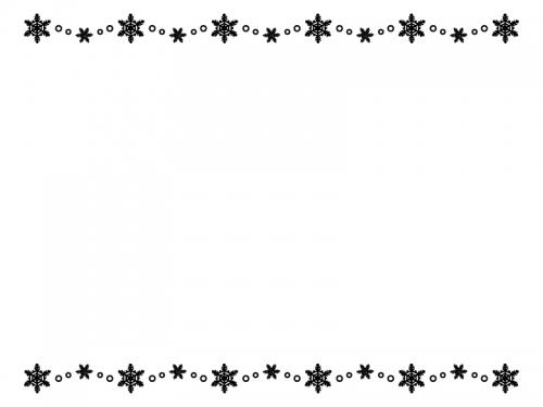 雪の結晶の白黒上下フレーム飾り枠イラスト