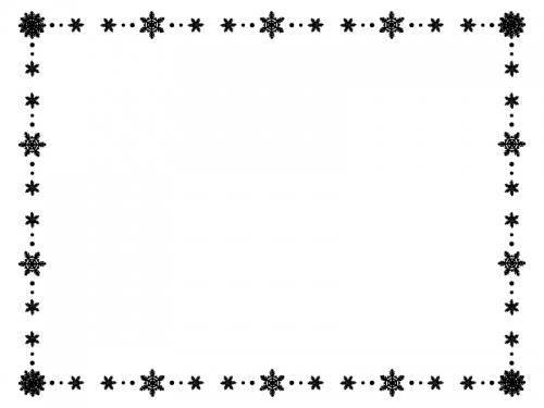 雪の結晶の白黒囲みフレーム飾り枠イラスト