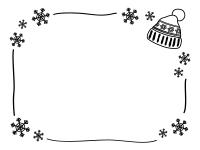 ニット帽と雪の結晶の白黒フレーム飾り枠イラスト