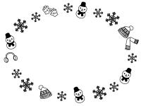 雪の結晶と冬の小物・雪だるまの白黒楕円フレーム飾り枠イラスト