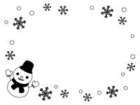 雪だるまと雪の結晶の白黒フレーム飾り枠イラスト