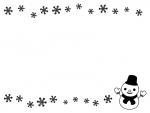 雪だるまと雪の結晶の白黒上下フレーム飾り枠イラスト