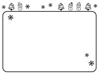 雪だるまとツリーと雪の結晶の白黒フレーム飾り枠イラスト