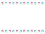 ピンクと水色のチューリップの上下フレーム飾り枠イラスト