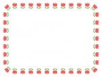 赤いチューリップの囲みフレーム飾り枠イラスト
