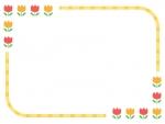 赤とオレンジのチューリップの黄色線フレーム飾り枠イラスト