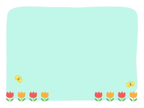 赤とオレンジのチューリップの水色フレーム飾り枠イラスト