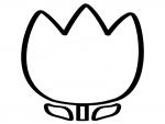 チューリップの輪郭の白黒フレーム飾り枠イラスト