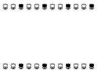 チューリップの上下白黒フレーム飾り枠イラスト