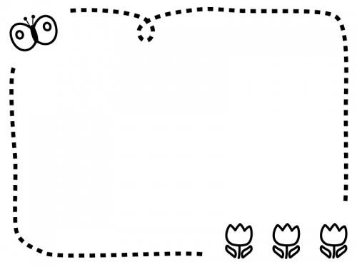 チューリップとちょうちょの白黒点線フレーム飾り枠イラスト