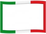 イタリアカラーの緑白赤の旗風フレーム飾り枠イラスト