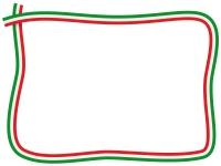 イタリアカラーの緑白赤の手書き風フレーム飾り枠イラスト