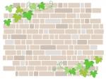 アイビーの葉っぱとレンガ壁のフレーム飾り枠イラスト