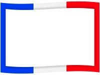フランスカラーの青白赤の旗風フレーム飾り枠イラスト