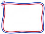 フランスカラーの青白赤の手書き風フレーム飾り枠イラスト