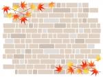 紅葉したもみじの葉っぱとレンガ壁のフレーム飾り枠イラスト