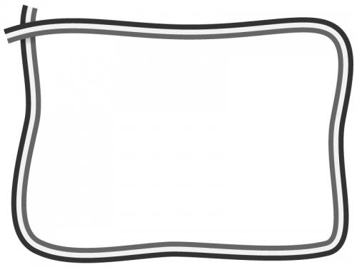 白黒の3色の手書き風フレーム飾り枠イラスト
