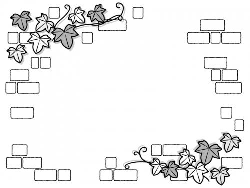 アイビーの葉っぱとレンガ壁の白黒フレーム飾り枠イラスト
