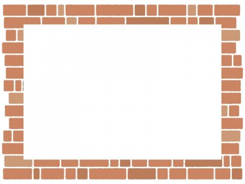 茶色のレンガ壁のフレーム飾り枠イラスト