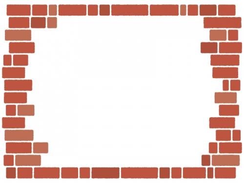 赤茶色のレンガ壁のフレーム飾り枠イラスト
