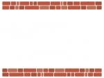赤茶色のレンガの上下フレーム飾り枠イラスト