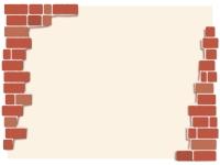 赤茶色のレンガの左右フレーム飾り枠イラスト