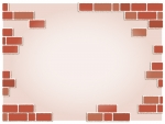 赤茶色のランダムなレンガのフレーム飾り枠イラスト